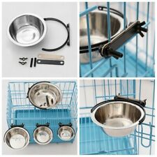 Stainless Steel Pet Hanging Bowl Feeding Cage Cup Dog Cat Bird Parrot Food Water