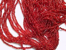 Vtg 1 HANK SILVER LINED RED UBER OLD ROUND GLASS SEED BEADS 13/0 #012816c
