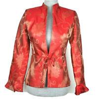 Kay Unger Red Silk Blazer Evening Jacket Beaded Tie Front Women's Size 2