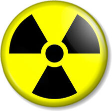 """NUCLEAR WARNING SIGN 25mm 1"""" Pin Button Badge Zombie Symbol Geek Nuke Holocaust"""