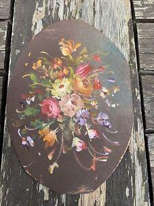 Peinture Miniature Sur Cuivre Bouquet De Fleurs Ancien Tableau Peint Artiste