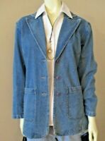 Vintage Boxy Denim Blazer Jacket sz 8 Retro Notched Lapel