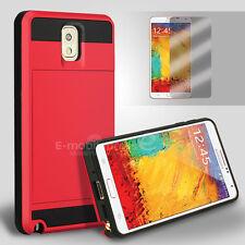Card Pocket Slide ShockProof Slim Wallet case cover Samsung Galaxy Note 3 4 5 9