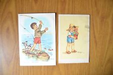 LOTTO 2 CARTOLINE BAMBINI illustratore MARIAPIA 1948 SUBALPINA BB