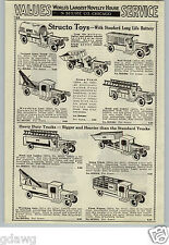 1933 PAPER AD 3 PG Structo Toy Truck Army Dump Tow Pull Tank Keystone Ride Em