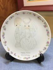 Happy 50th Anniversary Precious Moments Plate Wedding Golden Gift Vintage 1988