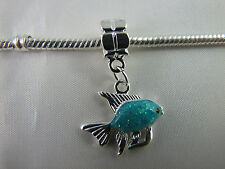 SILVER PLATED ENAMELED FISH DANGLE CHARMS FOR EUROPEAN STYLE CHARM BRACELETS