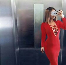 UK Women SEXY V-neck Cross Bandage Bodycon Evening Cocktail Party Mini Dress NEW