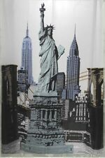 Bathroom Shower Curtain Stylish Home Decorate W/ Hooks Statue of Liberty Print
