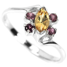 Natural CITRINE & GARNET Stones  925 STERLING SILVER Flower RING S7.0