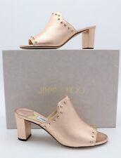 91ac1335c3 Jimmy Choo Myla 65 Pink Metallic Leather Mules Sandals Gold Studs 7 37