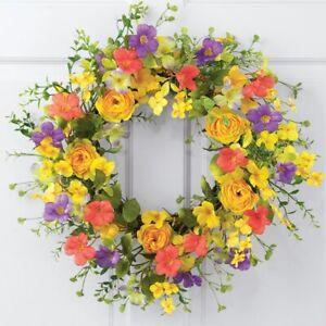 """20"""" Diameter Yellow Rose w/ Vibrant Wildflowers Home Door Welcome Wreath"""