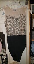 ASOS leotard size 10 black pink mesh