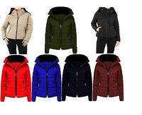 New Womens Ladies Quilted Padded Fur Collar Puffer Bubble Warm Thick Jacket Coat
