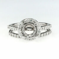 14K White Gold 0.57ctw Diamond Halo Accented Semi Mount Setting Bridal Ring Set