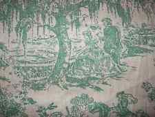 Antique Toile Fabric American Historical Vintage 1930s Green Southern C
