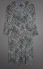 George Black & White 3/4 Length Sleeve Stretch Collared Belted Dress Sz XXL