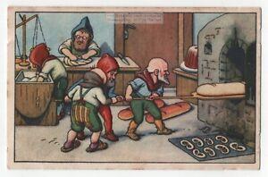 German Heinzelmannchen Elves Baking Bread And Pretzles1920sTrade Ad Card