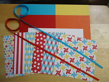 "Stampin Up BIG TOP BIRTHDAY 6 X 6"" Designer Paper Card Kit Ribbon"
