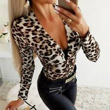 Floral Tops For Women Sexy Deep V Neck Long Sleeve Blouses  Low Cut Q