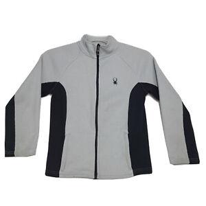 Spyder Full Zip Embroidered Jacket Youth M Medium Gray Black