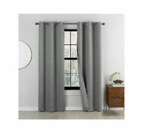 Curtain Eclipse Mooreland BlackOut Window 2 Panels Charcoal Gray 76 X 63 New