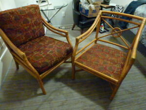 Pair of Vintage Mid Century Modern McGuire Bamboo Accent Chairs 2 FABRICS TARGET