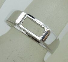 Free Shipping 925 Sterling Silver 4x7mm Emerald Shape Semi Mount Ring Jewelry
