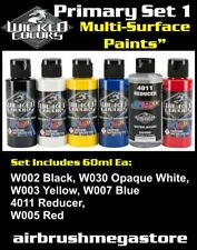 Wicked Airbrush Colors 60ml Primary Set 1 Importer Direct + Free Insured Post