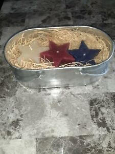 candles with Tin tub, red white & blue