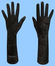 NEW WOMENS size 10 5XL GENUINE LONG BLACK SUEDE LEATHER GLOVES w/ SILK LINING