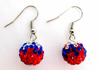 Independence Day Labor Day Military Memorial Day USA Flag Color Earrings