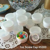 20 White JARS 1 ounce Clr Caps Plastic Container 5303 DecoJars USA Party Favors