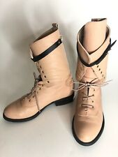 Miista Size 38 US 8 Peach Leather Lace Up Boots Mid Calf Jaquar Head Buckle