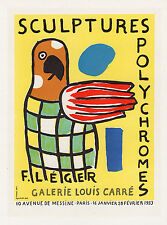 "BOLD LEGER Antique Exposition Poster ""Sculptures Polychromes"" SIGNED Framed COA"