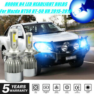 8000K H4 LED Headlight Globe Bulb Auto Lamp for Mazda BT50 BT-50 UR 2015-2018 2X