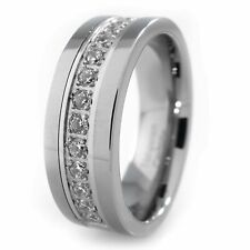 Silver Tungsten Carbide Out Iced 13 CZ Inlay Wedding Band Engagement Bridal Ring