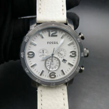 New Old Stock- FOSSIL NATE JR1423 - Gunmetal White Dial Leather Quartz Men Watch