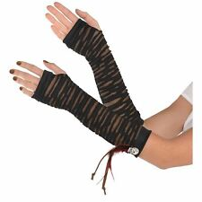 Witch Doctor Long Fingerless Gloves Voodoo Halloween Costume Accessory