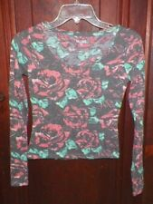 Juniors XS Mudd Gray/Coral/Green Floral Lightweight Pullover Sweater