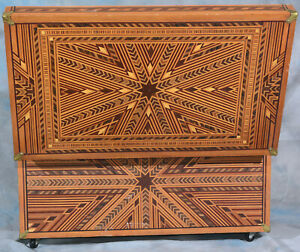 Folk Parquetry Locker Trunk Hope Chest - made in Oakland California 1940's ONE O