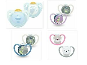 NUK Baby Pacifiers Space Night Dummies Soothers Glow in the Dark 0-6 M/ 6-18 M
