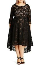 City Chic Plus Size Lace Lover Midi High Low Party Dress 20W (Large) Black #3633
