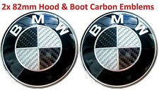 2pcs fits BMW Carbon BW Emblem 2x82mm Bonnet/Boot Badge E30 E36 E46 F10 F30...