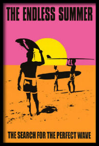 (FRAMED) ENDLESS SUMMER MOVIE POSTER 66X96CM ART PRINT SURFING BEALIFE OCEAN