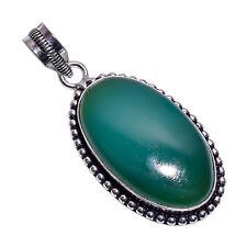 PLATA DE LEY Capa hecho a mano verde Calcedonia Colgante nlg-379 chapado en