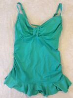 Lands End 6 Tankini Swimsuit Top Green Ruffle Underwire Ruched Womens Swim