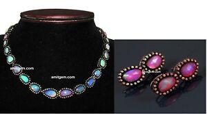 925 Sterling Silver Diamond Ethiopian Opal Necklace Earring Women Jewelry Set 23