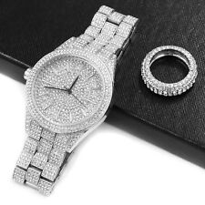 HIPHOP Iced RAONHAZAE JUICY J SILVER FINISHED LAB DIAMOND WATCH & RING SET.