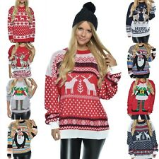 Damen Weihnachtspullover Pulli Rentier lockersitzend Sweater Christmas 40046